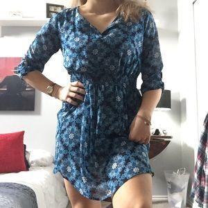 Blue floral, bohemian chic, mini dress.